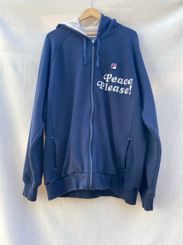 IMAGE OF FRONT NAVY HOODIE WITH PEACE PLEASE! EMBROIDERY AT TOP LEFT CORNER.