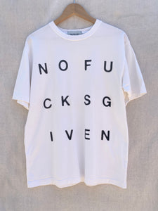 FRONT IMAGE OF WHITE  T-SHIRT WITH NOFUCKSGIVEN PRINT ON IT.