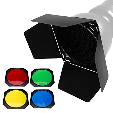 Godox BD-04 Barn Door and Honeycomb Grid and 4 Color Gel Filters (Red Yellow Blue Green) Compatible for Standard Reflector