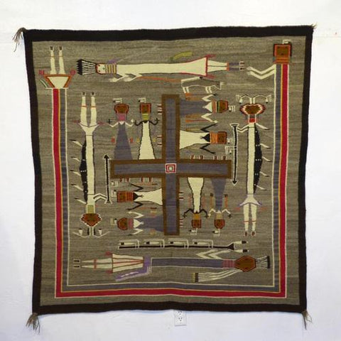 1940s Navajo Whirling Log Sandpainting Rug