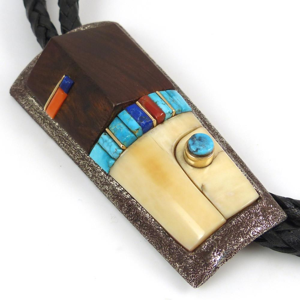 Cobble Inlaid Bola Tie - Jewelry - Wes Willie - 1