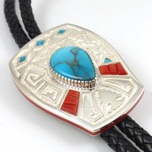 Bisbee Turquoise and Coral Bola Tie - Jewelry - Michael Perry - 1