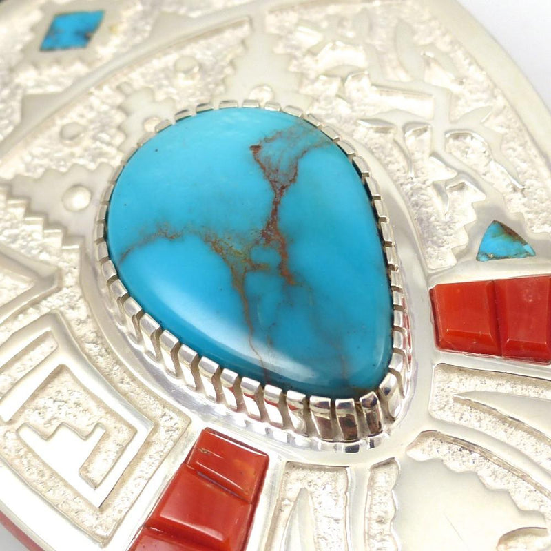 Bisbee Turquoise and Coral Bola Tie - Jewelry - Michael Perry - 4