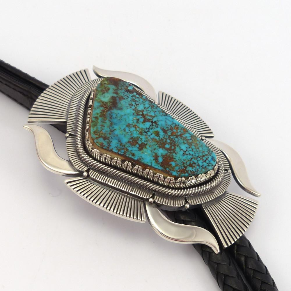 Pilot Mountain Turquoise Bola Tie - Jewelry - Curtis Pete - 1