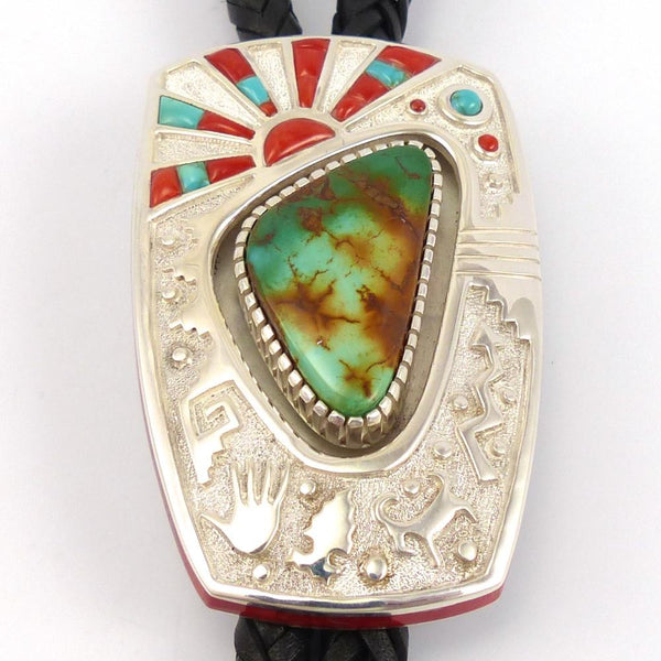 Turquoise and Coral Bola Tie, Michael Perry, Jewelry, Garland's Indian Jewelry