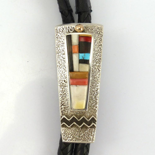 Multi-Stone Inlay Bola Tie, Edison Cummings, Jewelry, Garland's Indian Jewelry