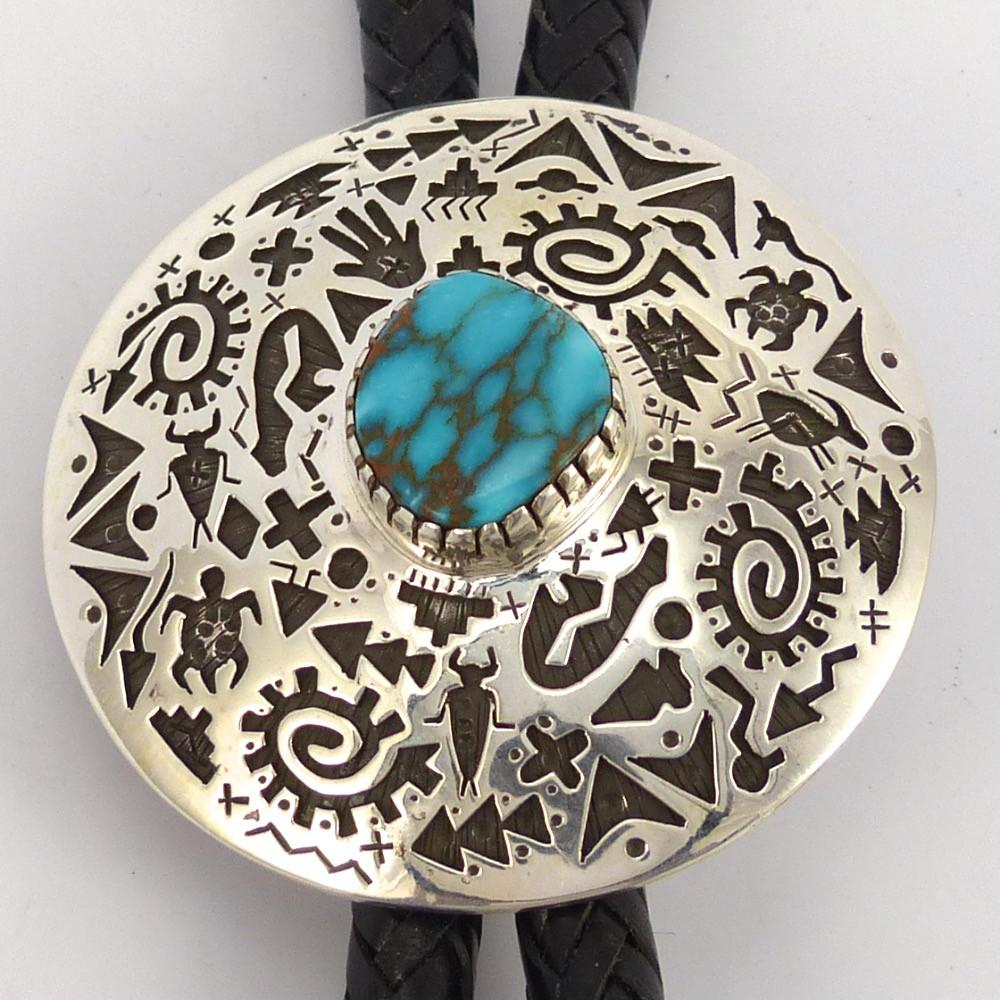 Candelaria Turquoise Bola Tie, Kee Yazzie, Jewelry, Garland's Indian Jewelry