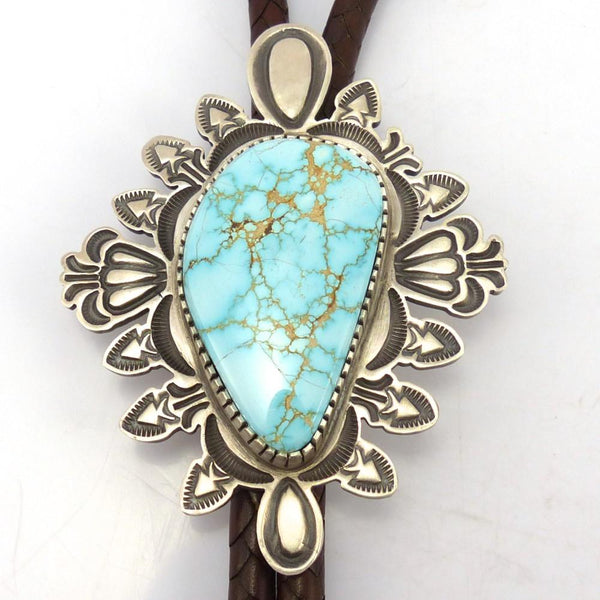 Number Eight Turquoise Bola Tie, Tommy Jackson, Jewelry, Garland's Indian Jewelry