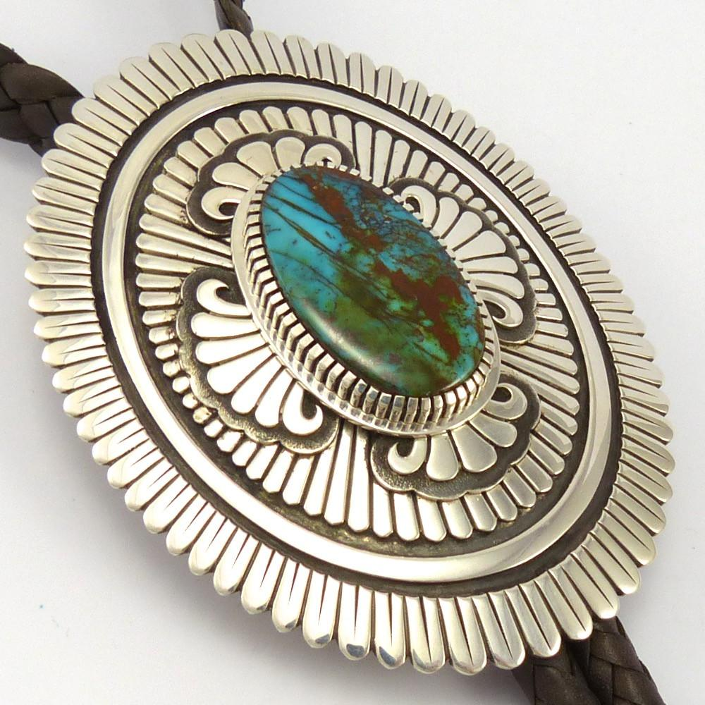 Pilot Mountain Turquoise Bola Tie, Ray Scott, Jewelry, Garland's Indian Jewelry