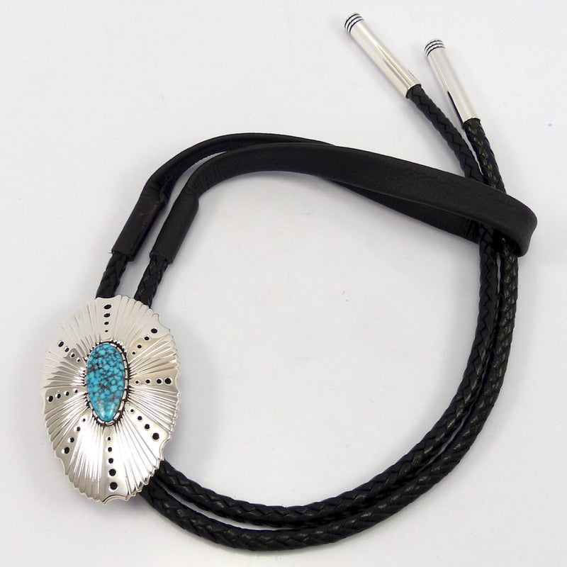 Kingman Turquoise Bola Tie, Richard Tsosie, Jewelry, Garland's Indian Jewelry