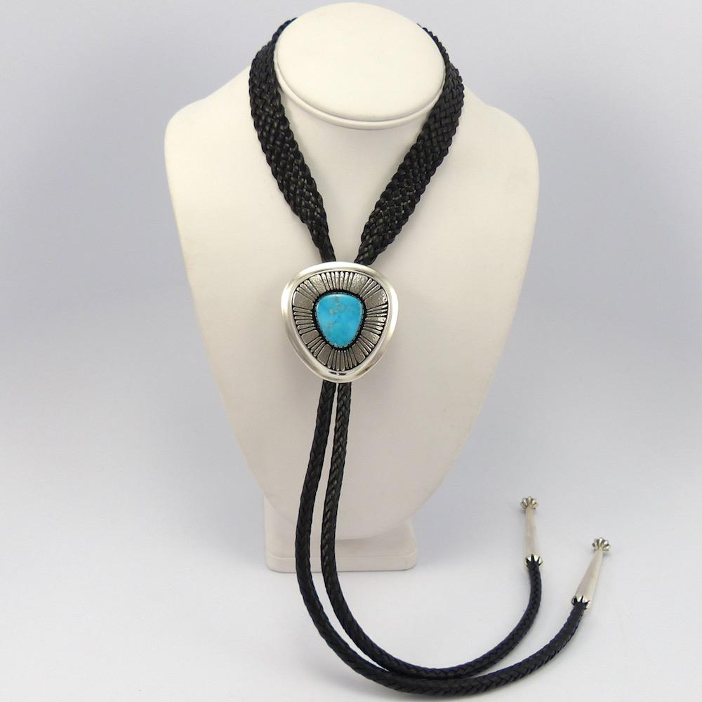 Blue Gem Turquoise Bola Tie, Al Joe, Jewelry, Garland's Indian Jewelry