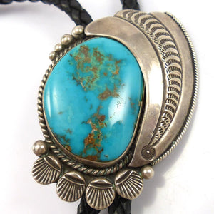 1970s Morenci Turquoise Bola Tie, Fred Thompson, Jewelry, Garland's Indian Jewelry