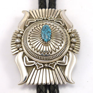 Kingman Turquoise Bola Tie, Pete Johnson, Jewelry, Garland's Indian Jewelry