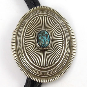 Kingman Turquoise Bola Tie, Ron Bedonie, Jewelry, Garland's Indian Jewelry