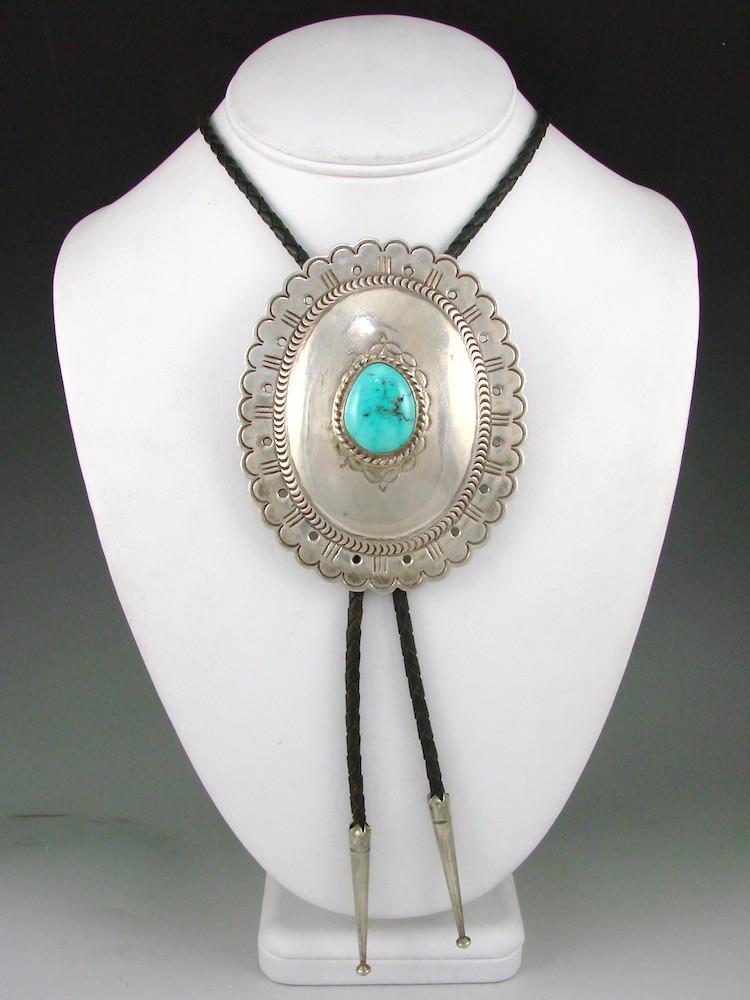 1960s Kingman Turquoise Bola Tie - Jewelry - Vintage Collection - 2