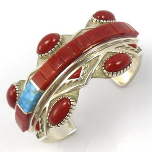 Turquoise and Coral Raised Bracelet