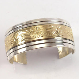 Gold on Silver Cuff - Jewelry - Leonard Nez - 1