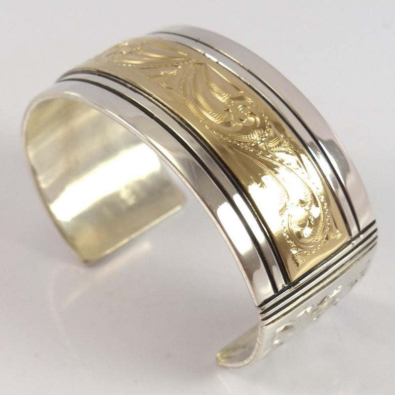 Gold on Silver Cuff - Jewelry - Leonard Nez - 2