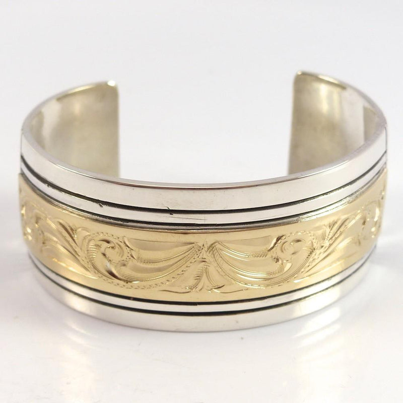 Gold on Silver Cuff - Jewelry - Leonard Nez - 3