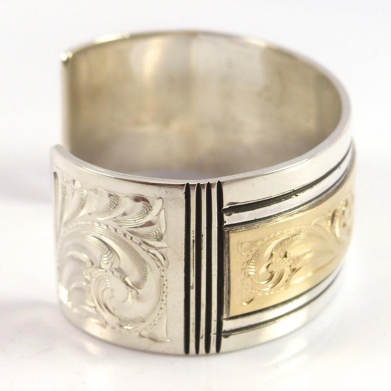Gold on Silver Cuff - Jewelry - Leonard Nez - 4