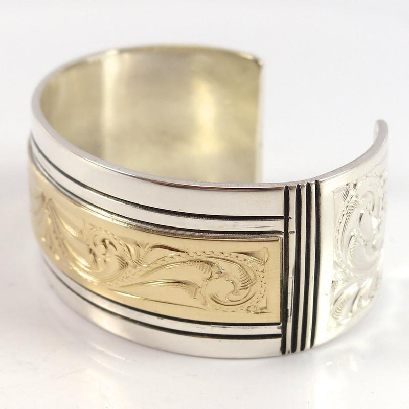 Gold on Silver Cuff - Jewelry - Leonard Nez - 5