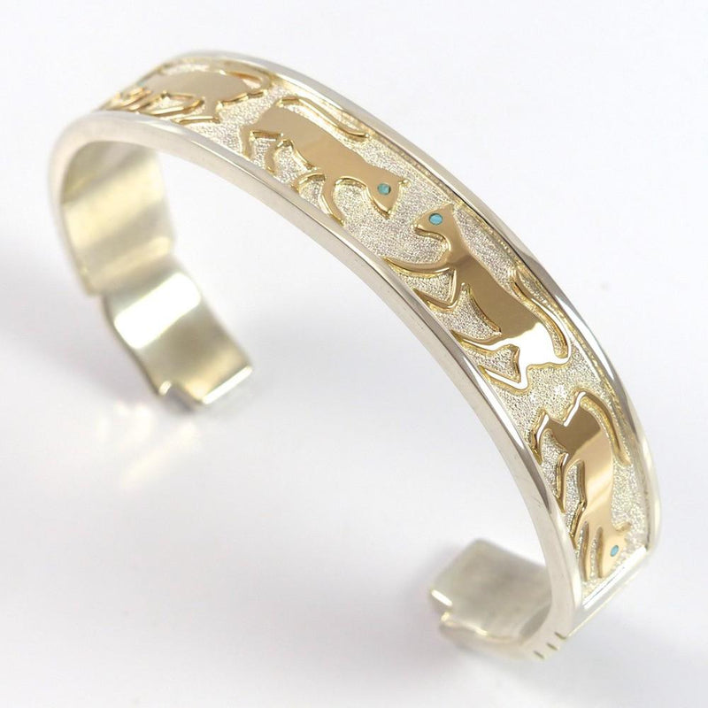 Gold on Silver Cat Cuff - Jewelry - Robert Taylor - 2