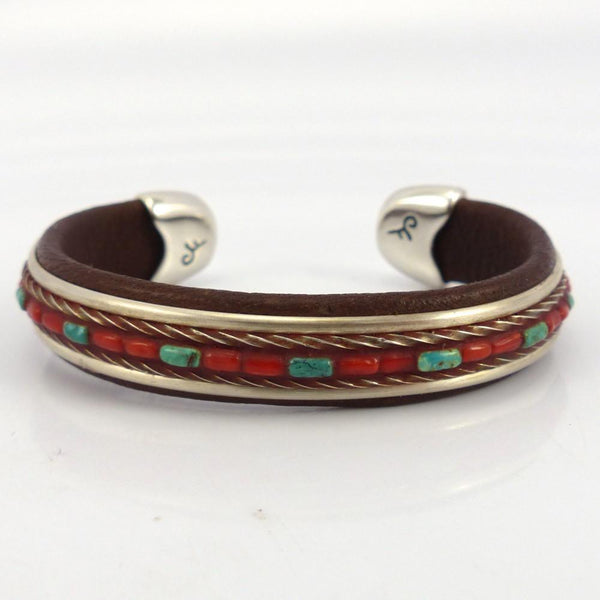 Turquoise and Coral Inlay Cuff