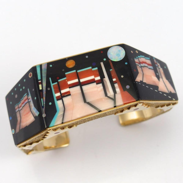 Blue Ribbon Monument Valley Cuff, Jesse Monongya, Jewelry, Garland's Indian Jewelry