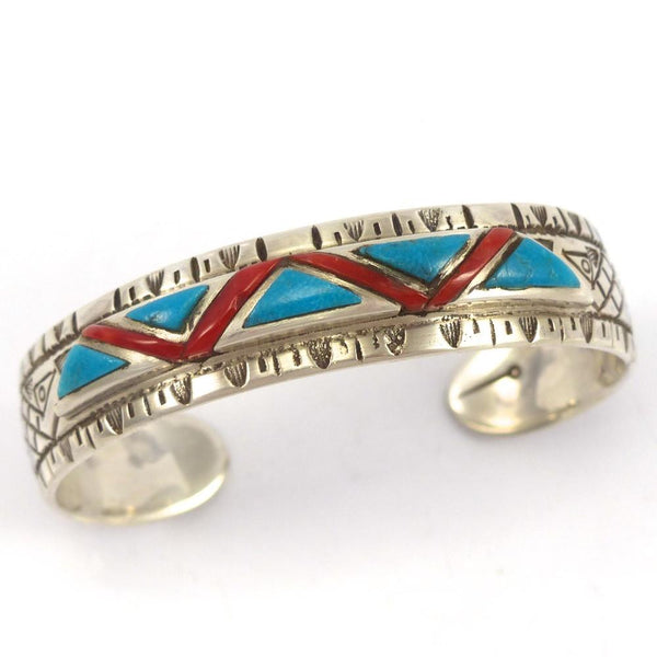 Blue Gem Turquoise and Coral Cuff