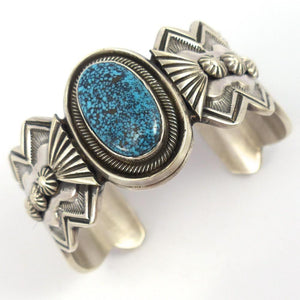 Spiderweb Kingman Turquoise Cuff, Leon Martinez, Jewelry, Garland's Indian Jewelry