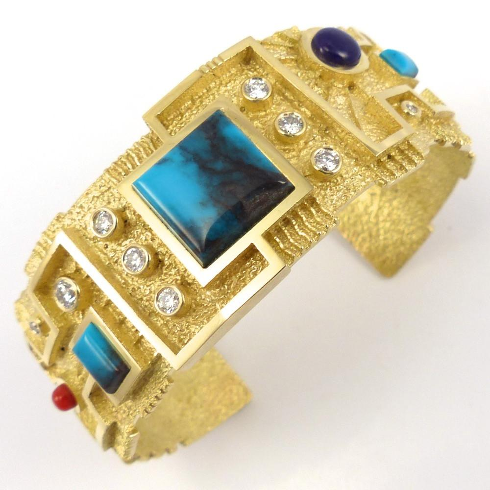 Turquoise, Diamond, and Gold Cuff, Ric Charlie, Jewelry, Garland's Indian Jewelry
