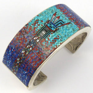 Micro-Inlay Yei Cuff, Irene and Carl Clark, Jewelry, Garland's Indian Jewelry