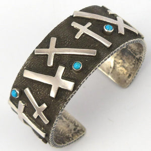 Turquoise Cross Cuff, Ernest Rangel, Jewelry, Garland's Indian Jewelry