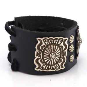 Silver on Leather Bracelet, Darrell Cadman, Jewelry, Garland's Indian Jewelry