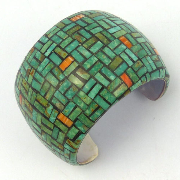 Inlaid Shell Cuff, Joe and Angie Reano, Jewelry, Garland's Indian Jewelry