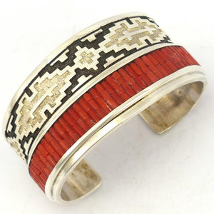 Coral Heishi Cuff, Dan Jackson, Jewelry, Garland's Indian Jewelry