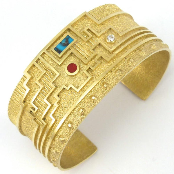 Tufa Cast Gold Cuff by Ric Charlie at Garland's Jewelry