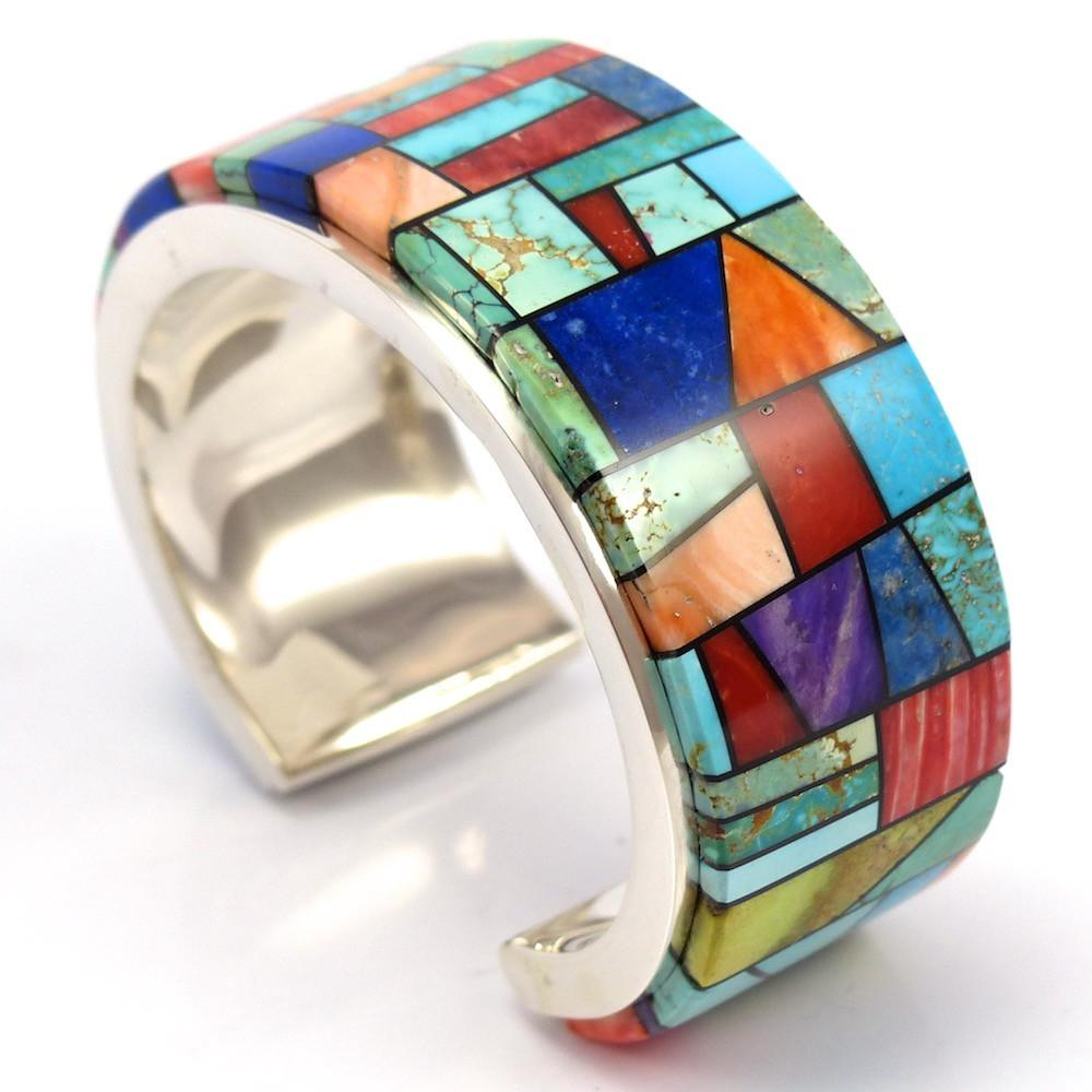 Mosaic Inlaid Cuff, Bryon Yellowhorse, Jewelry, Garland's Indian Jewelry