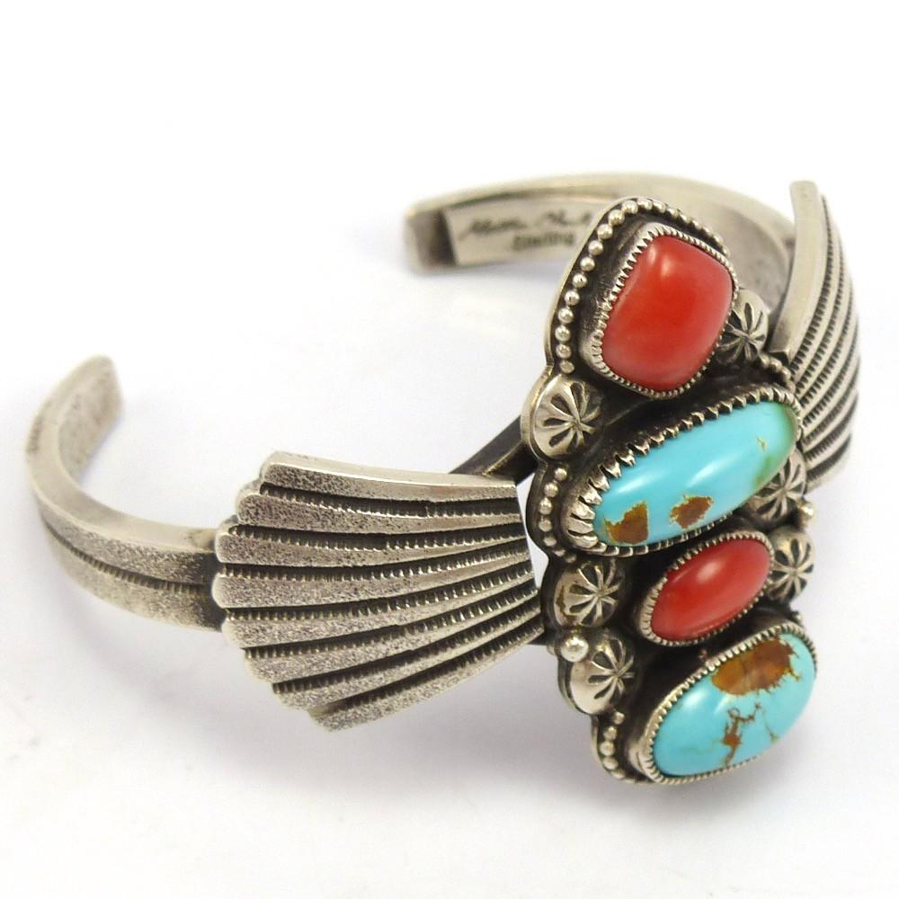 Royston Turquoise and Coral Cuff