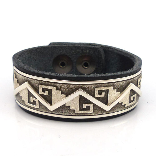 Silver and Leather Bracelet, Ray Scott, Jewelry, Garland's Indian Jewelry