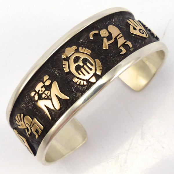 Gold on Silver Petroglyph Cuff, Watson Honanie, Jewelry, Garland's Indian Jewelry