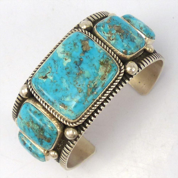 Morenci Turquoise Cuff, Guy Hoskie and Bruce Eckhardt, Jewelry, Garland's Indian Jewelry