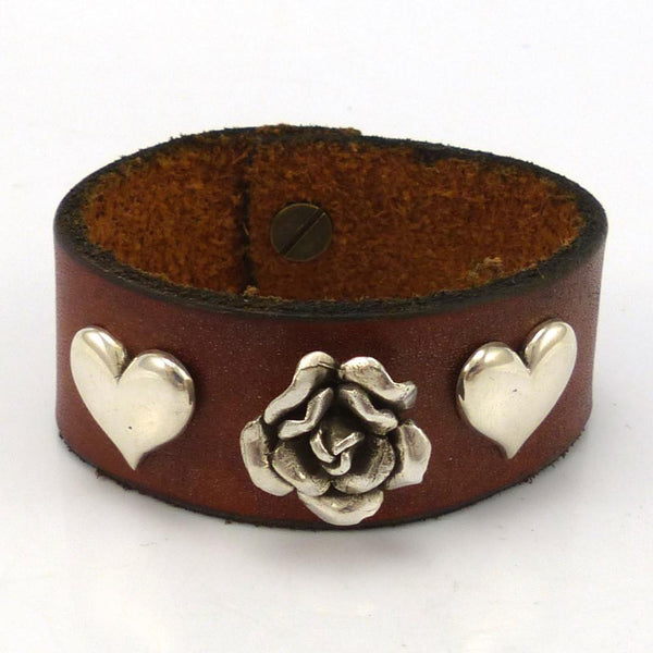 Rose and Heart Leather Bracelet