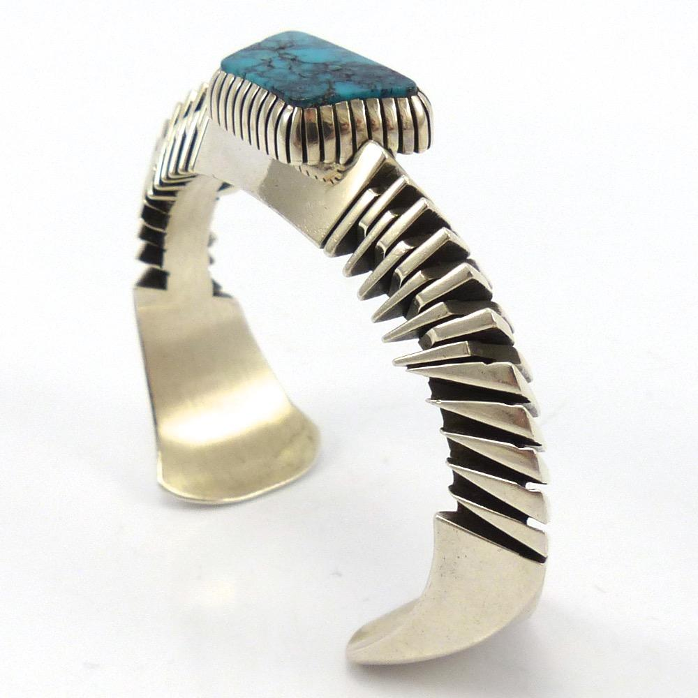 Blue Diamond Turquoise Cuff, Isaiah Ortiz, Jewelry, Garland's Indian Jewelry