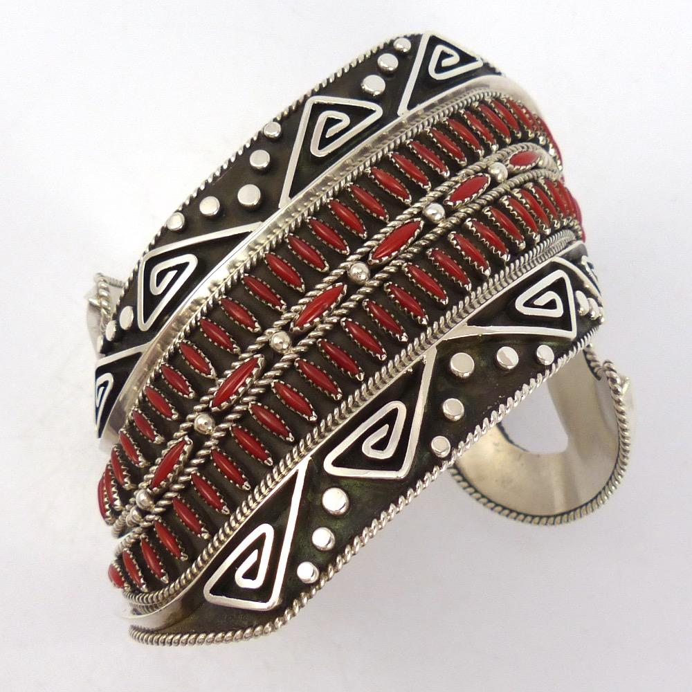 """Carol"" Cuff Bracelet with Coral, Billy Betoney, Jewelry, Garland's Indian Jewelry"