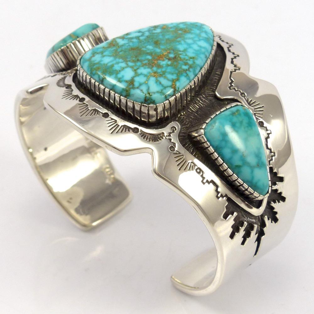 Kingman Turquoise Cuff, Dina Huntinghorse, Jewelry, Garland's Indian Jewelry