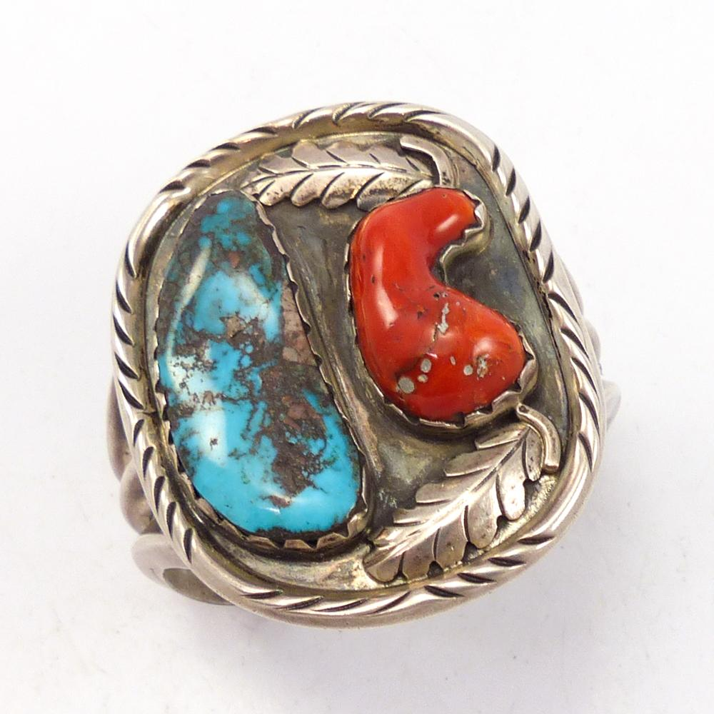 1970s Turquoise and Coral Cuff
