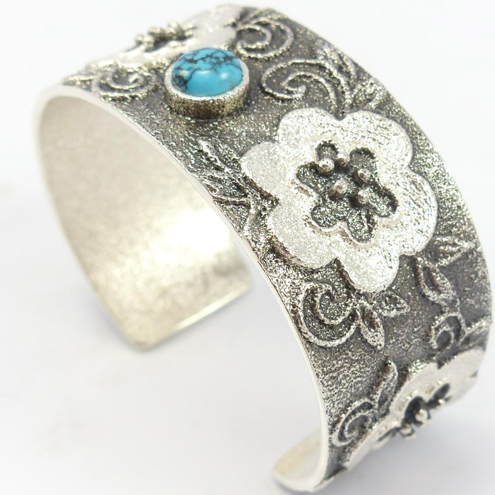 Turquoise Flower Cuff