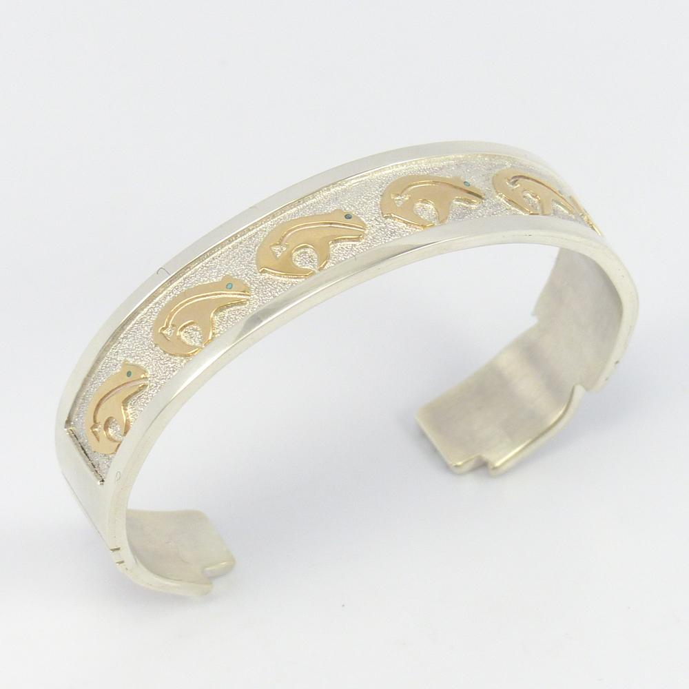 Gold on Silver Bear Cuff