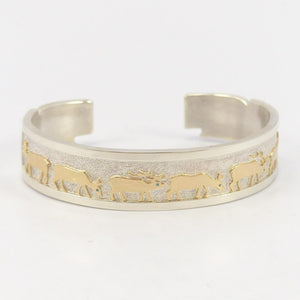 Gold on Silver Elk Cuff